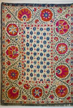 Bukhara Suzani with Pomegranate Design, 19th.