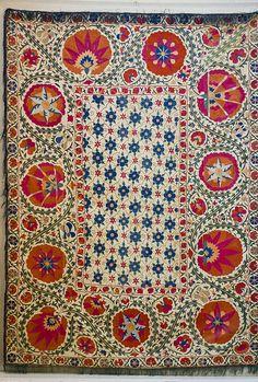 Textile - Bukhara Suzani with Pomegranate Design, Textile Patterns, Textile Prints, Textile Design, Print Patterns, Lino Prints, Floral Patterns, Block Prints, Grenade, Surface Pattern Design