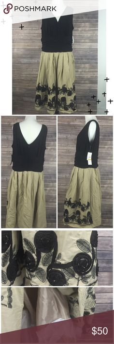 S.L. Fashions Sleeveless Cocktail Dress Sz 16 NWT S.L. Fashions Woman Sleeveless Dress Black Jersey Surplice Bodice / Tan Embroidered/Ribbon Trimmed Floral Skirt Women's Size 16. New with tags 95% Polyester / 5% Spandex / Combo 100% Cotton / Lining - 100% Polyester. Zips up back. The skirt is tan with black floral embroidery + 3D. Fully lined w/ tulle at the end for added poofy-ness. Chest (armpit to armpit) 22, Waist (side to side) 18, Strap width - 2.25, Length (top of strap to bottom…
