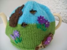 Hand knitted Rabbit and Hedgehog  tea cosy for a medium teapot