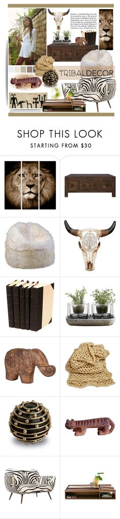 """Tribal Decor"" by kamication ❤ liked on Polyvore featuring interior, interiors, interior design, home, home decor, interior decorating, Nude, Universal Lighting and Decor, L'Objet and Emporium Home"