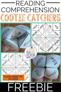 Reading cootie catchers are the perfect way to get a quick comprehension check! Also would be good use to help students practice their comprehension skills. Reading Comprehension Games, Reading Activities, Teaching Reading, Guided Reading, Comprehension Questions, Close Reading, Reading Strategies, Reading Games For Kids, Reading Projects