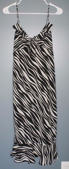 Express black and white zebra print dress with spaghetti straps womens size 7/8 #Express #Sundress #Casual