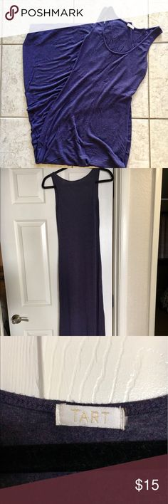 "Tart Purple Maxi Dress Tart Purple Long Maxi Dress- Size Small. Has minimal pilling on bottom in the inside of the dress, as well as two small holes( see pictures), has no stains. Worn a handful of times, but still in good condition. Comes from a smoke/pet free home. Measurements: Should to hem 58.5"", Armpit to Armpit-15.5"", Strap Length 1"". I am 5'6 and wore this with 2"" heels or higher. Make me a offer or bundle with other items for a extra discount. Tart Dresses Maxi"