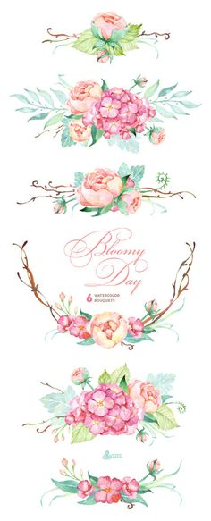 Bloomy Day: 6 Watercolor Bouquets hydrangea peonies wedding invitation floral frame greeting card diy clip art flowers mint and pink Watercolor Clipart, Watercolor Flowers, Watercolor Art, Drawing Flowers, Art Flowers, Watercolor Wedding, Wedding Drawing, Pink Flowers, Pink Peonies