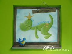 Muurschildering Dirkje draak voor de babykamer. Met gezichtsbedrog van een echt raam. Zie ook mijn Facebookpagina: https://www.facebook.com/esthersmuurschilderingen/