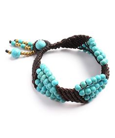 This Turquoise & Brown Bead Bracelet is perfect! #zulilyfinds