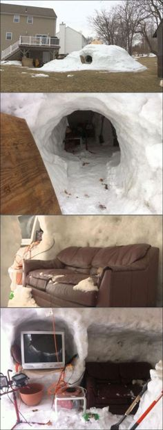 Cool (if a bit dangerous) Snow Fort. Some Dads carry the Awesome gene - some don't. Diy Fort, Snow Castle, Stuff To Do, Cool Stuff, Random Stuff, St Therese Of Lisieux, Build A Fort, Snow Sculptures, Snow Fun