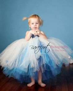 """Queen Frostine, Custom Sewn 3 Tiered Tutu Dress in Blue and White with Snowflake Embellishments, up to 20"""" long - sizes Newborn to 24 months on Etsy, $88.52 AUD"""