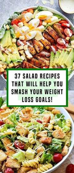 37 Salad Recipes That Will Help You Smash Your Weight Loss Goals! - 37 Salad Recipes That Will Help You Smash Your Weight Loss Goals! 37 Salad Recipes That Will Help You Smash Your Weight Loss Goals! Chicken Salad Recipes, Healthy Salad Recipes, Healthy Snacks, Quick Recipes, Dinner Salad Recipes, Dinner Salads Healthy, Side Salad Recipes, Healthy Salad With Chicken, Healthy Recipes Dinner Weightloss