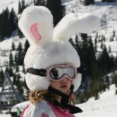 My kids would get ski helmet covers like this!  Okay, maybe not exactly like this.  They're boys and would never wear this, but you get the idea.