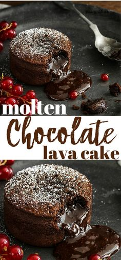 This Molten Chocolate Lava Cake Recipe is the ultimate is delicious chocolate decadence. This amazing dessert delights everyone and tastes amazing! Valentine Desserts, Köstliche Desserts, Chocolate Desserts, Delicious Desserts, Yummy Food, Chocolate Lava Cupcake Recipe, Hot Fudge Lava Cake Recipe, Molten Lava Brownie Recipe, Chocolate On Chocolate Cake