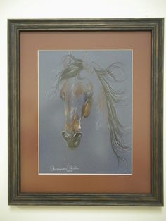 Charcoal horse drawing with soft rust tone matting picks upnthe little bit of color there is to the horse.