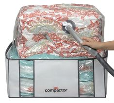 Compactor Space Saver Vacuum Storage Solution Vacuum Bag to Protect Clothes, Pillows, Duvets, Comforters, Blankets (XXL Classic White) Wicker Storage Trunk, Linen Storage, Bed Storage, Closet Storage, Vacuum Storage Bags, Vacuum Bags, Comforter Storage, Bedding Sets, King Size Comforters