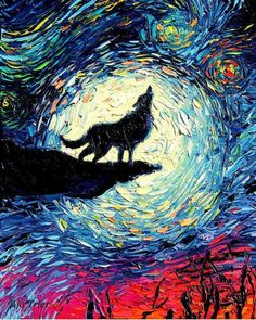 Wolf silhouette Art Starry Night Art Print van Gogh Never Howled At The Moon by Aja 88 1010 1212 2020 and 2424 inches choose size Wolf Silhouette, Vincent Van Gogh, Arte Pink Floyd, Starry Night Art, Starry Nights, Painting Prints, Art Prints, Wolf Painting, Howl At The Moon