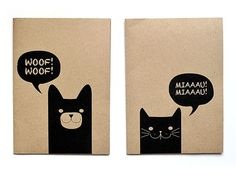"""IONA BINDING - Notebooks that measures 54,13"""" x 5,70"""". Kraft paper printed on black with a dog and a cat illustration."""