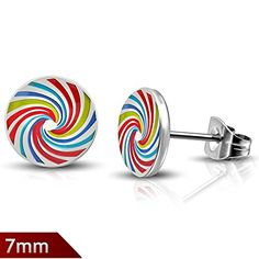 7mm  Stainless Steel Spiral Rainbow Color Circle Stud Earrings pair  LEB458 *** Click image for more details.