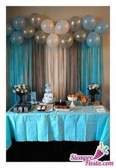 Blue silver white boy baby shower