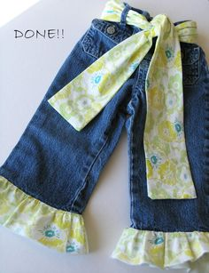 Super cute idea to lengthen the amount of time your little girl can wear her jeans!