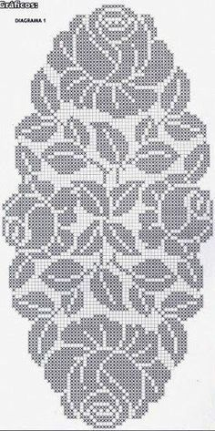 How to a Beautiful Rose Flower in Filet Crochet: Filet Crochet Rose Chart Filet Crochet Charts, Crochet Cross, Crochet Diagram, Crochet Home, Thread Crochet, Crochet Motif, Crochet Doilies, Crochet Stitches, Crochet Table Runner Pattern