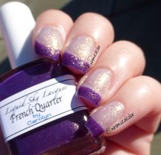 French Quarter is a sheer thermal polish that when cold, it's a deep purple with gold shimmer, and when hot, it's gold with a light blue hue, in its transition phase, the gold has a stronger blue hue.  Swatch is three thin coats with top coat, the second picture shows the blue hue better. Third swatch is by Imani, @lemmingspolish on Instagram. All items are handmade, therefore individual variations can occur between batches. Color may vary due to the monitor that you...