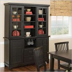 Home Styles Arts & Crafts Dining Buffet with Hutch in Ebony -  This Arts & Crafts Buffet & Hutch set features the same Arts & Crafts styling and ebony finish and easily provides additional storage without taking up additional floor space. The open center area of the hutch has three shelves as do each of the two cabinets.  The dining buffet offers great storage options with an open center compartment featuring a convenient stemware holder. Below that you can find two spacious drawers. Two cabinets provide even greater storage. Each cabinet has two adjustable/removable sh elves. One side of each shelf is flat for conventional shelf storage while the opposite side is designed for bottle storage.  Construction consists of eco-friendly sustainable hardwood and a clear coat finish helps protect against wear and tear from normal use.  Features: Ebony finish Constructed from sustainable hardwood Some easy assembly is required
