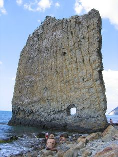 Sail Rock, Russia a natural sandstone monolith located on the shore of the Black Sea, in Krasnodar Krai, Russia.
