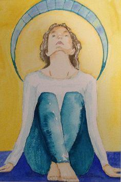 Yoga 1  une aquarelle originale de Manon Jodoin 5x7 Yoga 1, Yoga Tips, How To Do Yoga, True Colors, Original Artwork, Meditation, Watercolors, Prints, Painting