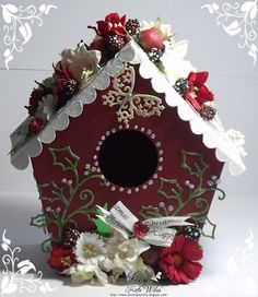 handmade Christmas Birdhouse using Wild Rose Studio Dies Dies - Little Frosted Butterfly, Holly Flourish, Snow Flourish and on the reverse Snow Flurry Downrightcrafty