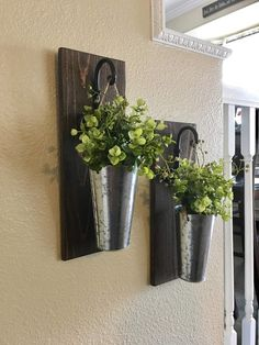 Etsy Farmhouse Home Decor, Rustic Decor, Galvanized Metal Hanging Planter with Greenery or Flowers, Rusti