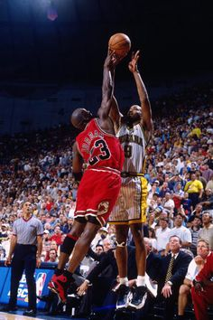 The GOAT gets the block on the Pacers' Derrick McKey's shot during a playoff game in Indianapolis.
