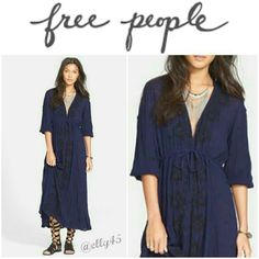 Free People Deep Navy Embroidered Maxi Dress Gorgeous and comfortable. 3/4 sleeve embroidered maxi is ultra feminine as well as ultra flattering. V neck with hook and eye closures which can be worn closed or open for a deeper V effect. Adjustable waist with drawstring. Embroidery on neckline, around the waist and down the front with dots scattered about. 100% rayon. Machine wash or dry clean. Smoke/pet-free home. ✈Fast Shipping ✈  Thanks for browsing my closet! Free People Dresses Maxi
