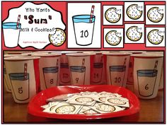 Common Core Addition Math Center: Kids drop cookies with addition facts into cups of milk labeled with sums. $