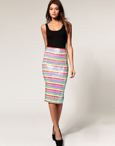 Pencil Skirt in Rainbow Sequins. Asos