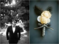 White boutonniere on a blue velvety background