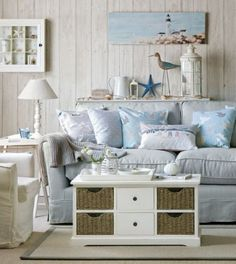 Nautical Living Room shop the look. a casual living room with lots of nautical