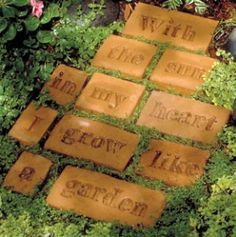 Stepping stones; http://www.amazon.com/Midwest-Products-Traditional-Letters-Stepping/dp/B000WWIGRK;  http://www.amazon.com/gp/offer-listing/B000KKR8ZK/ref=dp_olp_new?ie=UTF8=new;  http://www.amazon.com/Piece-Concrete-Patio-Paver-Mold/dp/B003GDDKXC/ref=sr_1_7?s=lawn-garden=UTF8=1333229832=1-7