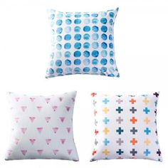blue polka dots throw pillows for couch watercolor geometric cushions