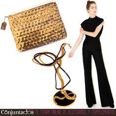 ¡Viernes noche, Carricoche! Guapa en pocos segundos con nuestra cartera de mano de lentejuelas (12,95 € en www.conjuntados.com) y el collar largo dorado con medallón de serpiente (19,95 € en www.conjuntados.com). ¡Pon unos brillos a tu vida y a volar! #novedades #bolso #handbag #purse #gold #pailletes #collar #necklace #black #joyitas #accesorios #complementos #shopping #trendy #tendencias #tendances #moda #mode #estilo #style #stylish #chic #luxe #love