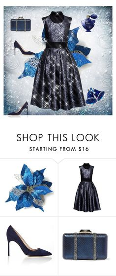 """Why not a blue gift?"" by gagenna ❤ liked on Polyvore featuring Manolo Blahnik, KOTUR, Guerlain, manoloblahnik, lattori and bluejacquarddress"