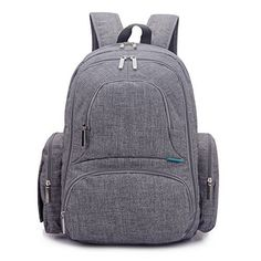 CoolBell Baby Diaper Backpack With Insulated Pockets, Gre...