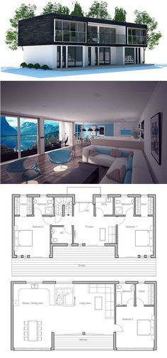 Contemporary Home Plan with open planning and three bedrooms, Contemporary House Design. Modern House Plan to Modern Family. Contemporary House Plans, Modern House Plans, Small House Plans, Beach House Floor Plans, Building A Container Home, Container House Plans, Shipping Container Homes, Shipping Containers, Bungalows