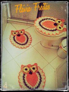 conjunto coruja croche laranja