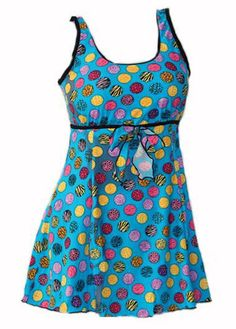 Plus Size Colorful Dot Print Babydoll Style Tank Swimdress