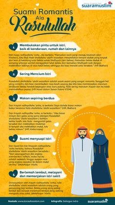 """Rasulullah shallallahu 'alaihi wasallam adalah sosok suami yang paling mesra terhadap istri-istrinya. Demikian pula ia memerintahkan umatnya khususnya para suami agar senantiasa menyayangi dan berlaku baik kepada ahlu keluarga khsususnya kepada istrinya.  Nabi shallallahu 'alaihi wasallam bersabda, """"Yang terbaik di antara kalian adalah yang terbaik terhadap keluarga/istrinya. Dan saya adalah orang yang paling baik terhadap istri/keluargaku."""" (HR Tirmidzi). Hijrah Islam, Islam Marriage, Doa Islam, Quran Quotes Inspirational, Motivational Quotes, Muslim Quotes, Islamic Quotes, Good Vibes Quotes, Love In Islam"""