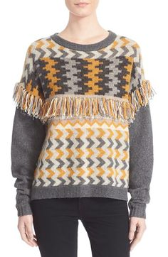 Banjo & Matilda 'Marrakech' Fringe Trim Jacquard Knit Sweater