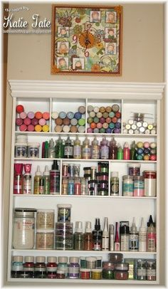 Great way to store stickles and glimmer mist