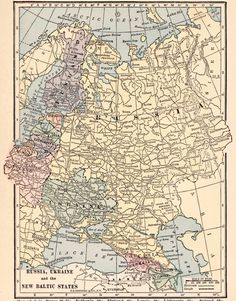 Use coupon code PINTEREST to save 10% off of your purchase! VINTAGE 1923 RUSSIA UKRAINE and the New Baltic by UpcycleFarmer Old Maps, Antique Maps, Vintage World Maps, Fish Print, Cactus Print, Us State Map, Russia Ukraine, Country Maps, Map Wall Art
