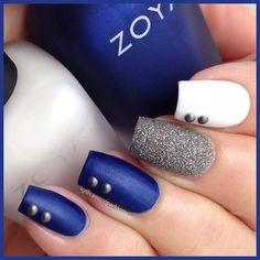 Blue & Silver Nails. Stud Art Nails. White Nail Base Color. Nail Art