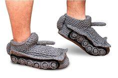 Men knitted Slippers Socks Handmade Crochet Tank USSR World of Tank Unisex Gray #Handmade #Slippers